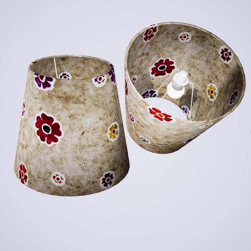 Conical Lamp Shade P35 - Batik Multi Flower on Natural, 23cm(top) x 35cm(bottom) x 31cm(height)