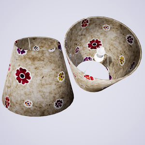 Conical Lamp Shade P35 - Batik Multi Flower on Natural, 23cm(top) x 40cm(bottom) x 31cm(height)