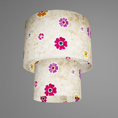 2 Tier Lamp Shade - P35 - Batik Multi Flower on Natural, 30cm x 20cm & 20cm x 15cm