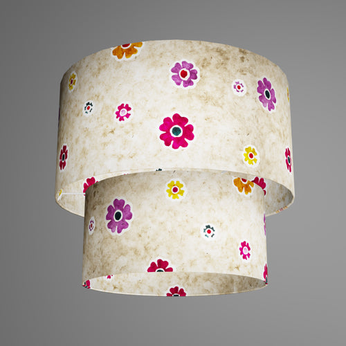 2 Tier Lamp Shade - P35 - Batik Multi Flower on Natural, 40cm x 20cm & 30cm x 15cm