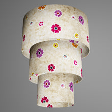 3 Tier Lamp Shade - P35 - Batik Multi Flower on Natural, 40cm x 20cm, 30cm x 17.5cm & 20cm x 15cm