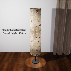 Drum Floor Lamp - P35 - Batik Multi Flower on Natural, 22cm(d) x 114cm(h) - Imbue Lighting
