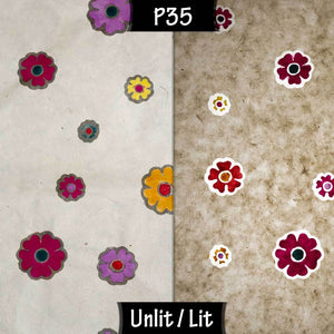 Drum Lamp Shade - P35 - Batik Multi Flower on Natural, 35cm(d) x 20cm(h) - Imbue Lighting
