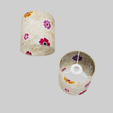 Drum Lamp Shade - P35 - Batik Multi Flower on Natural, 15cm(d) x 15cm(h)
