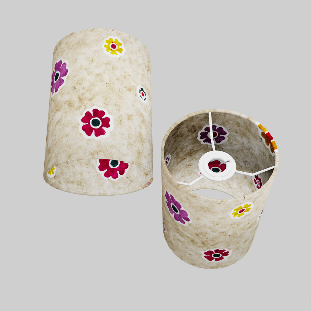 Drum Lamp Shade - P35 - Batik Multi Flower on Natural, 15cm(d) x 20cm(h)