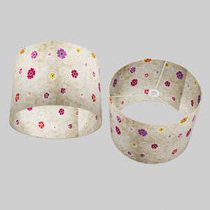 Drum Lamp Shade - P35 - Batik Multi Flower on Natural, 40cm(d) x 30cm(h)