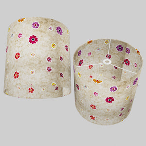 Drum Lamp Shade - P35 - Batik Multi Flower on Natural, 40cm(d) x 40cm(h)