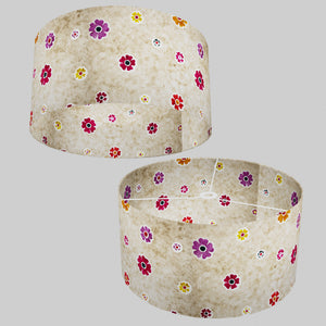 Drum Lamp Shade - P35 - Batik Multi Flower on Natural, 50cm(d) x 25cm(h)