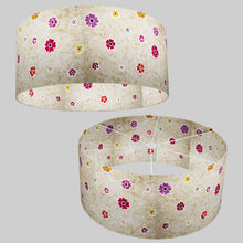 Drum Lamp Shade - P35 - Batik Multi Flower on Natural, 70cm(d) x 30cm(h)