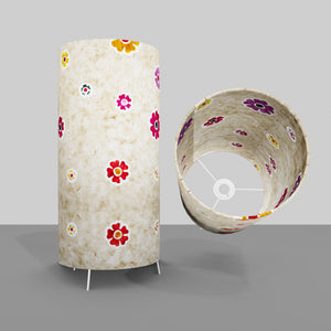 Free Standing Table Lamp Large - P35 ~ Batik Multi Flower on Natural