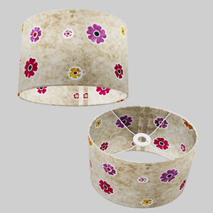 Oval Lamp Shade - P35 - Batik Multi Flower on Natural, 30cm(w) x 20cm(h) x 22cm(d)