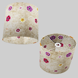 Oval Lamp Shade - P35 - Batik Multi Flower on Natural, 30cm(w) x 30cm(h) x 22cm(d)