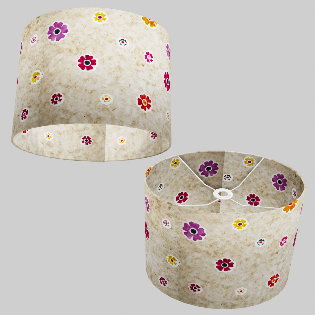 Oval Lamp Shade - P35 - Batik Multi Flower on Natural, 40cm(w) x 30cm(h) x 30cm(d)