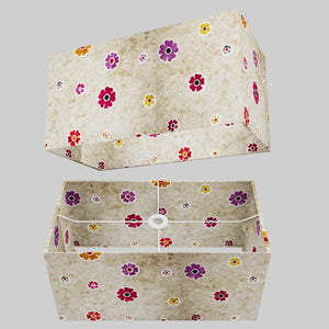 Rectangle Lamp Shade - P35 - Batik Multi Flower on Natural, 50cm(w) x 25cm(h) x 25cm(d)