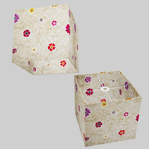 Square Lamp Shade - P35 - Batik Multi Flower on Natural, 30cm(w) x 30cm(h) x 30cm(d)