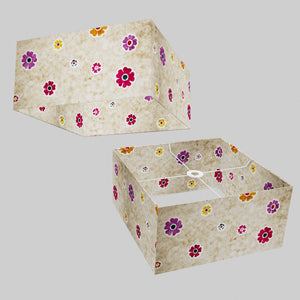 Square Lamp Shade - P35 - Batik Multi Flower on Natural, 40cm(w) x 20cm(h) x 40cm(d)