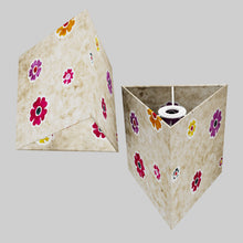 Triangle Lamp Shade - P35 - Batik Multi Flower on Natural, 20cm(w) x 20cm(h)