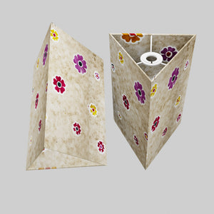 Triangle Lamp Shade - P35 - Batik Multi Flower on Natural, 20cm(w) x 30cm(h)