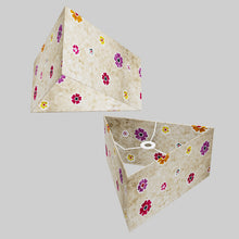 Triangle Lamp Shade - P35 - Batik Multi Flower on Natural, 40cm(w) x 20cm(h)