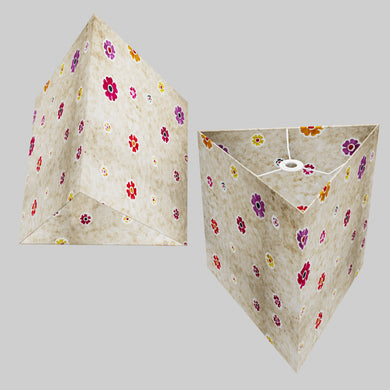Triangle Lamp Shade - P35 - Batik Multi Flower on Natural, 40cm(w) x 40cm(h)