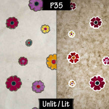 3 Tier Lamp Shade - P35 - Batik Multi Flower on Natural, 50cm x 20cm, 40cm x 17.5cm & 30cm x 15cm
