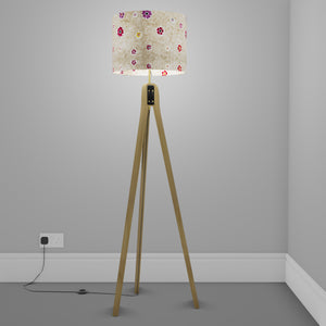 Oak Tripod Floor Lamp - P35 - Batik Multi Flower on Natural
