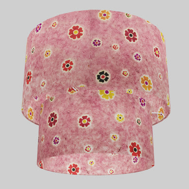 2 Tier Lamp Shade - P36 - Batik Multi Flower on Pink, 40cm x 20cm & 30cm x 15cm