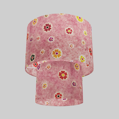 2 Tier Lamp Shade - P36 - Batik Multi Flower on Pink, 30cm x 20cm & 20cm x 15cm