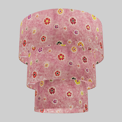 3 Tier Lamp Shade - P36 - Batik Multi Flower on Pink, 50cm x 20cm, 40cm x 17.5cm & 30cm x 15cm