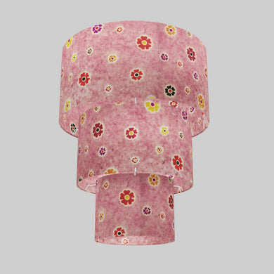 3 Tier Lamp Shade - P36 - Batik Multi Flower on Pink, 40cm x 20cm, 30cm x 17.5cm & 20cm x 15cm