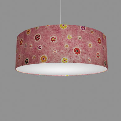 Drum Lamp Shade - P36 - Batik Multi Flower on Pink, 60cm(d) x 20cm(h)