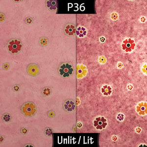 Drum Lamp Shade - P36 - Batik Multi Flower on Pink, 30cm(d) x 30cm(h)