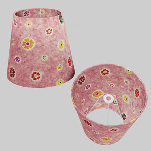 Conical Lamp Shade P36 - Batik Multi Flower on Pink, 23cm(top) x 35cm(bottom) x 31cm(height)