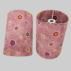 Drum Lamp Shade - P36 - Batik Multi Flower on Pink, 20cm(d) x 30cm(h)