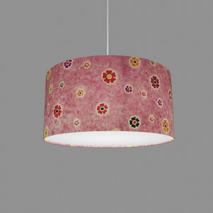 Drum Lamp Shade - P36 - Batik Multi Flower on Pink, 40cm(d) x 20cm(h)