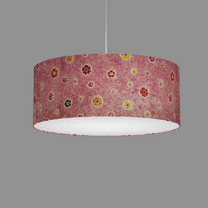 Drum Lamp Shade - P36 - Batik Multi Flower on Pink, 50cm(d) x 20cm(h)