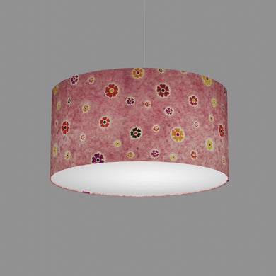 Drum Lamp Shade - P36 - Batik Multi Flower on Pink, 50cm(d) x 25cm(h)