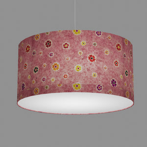 Drum Lamp Shade - P36 - Batik Multi Flower on Pink, 60cm(d) x 30cm(h)