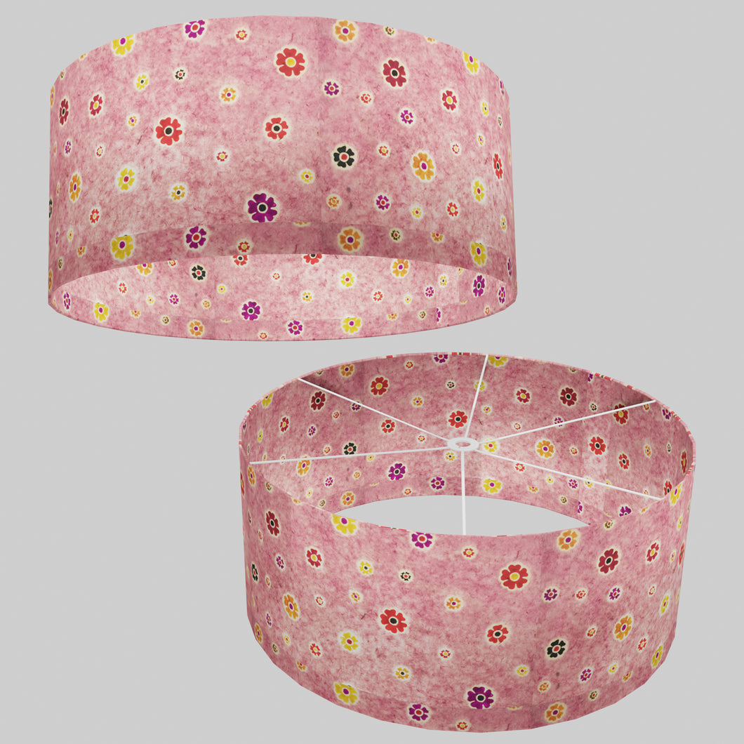 Drum Lamp Shade - P36 - Batik Multi Flower on Pink, 70cm(d) x 30cm(h)