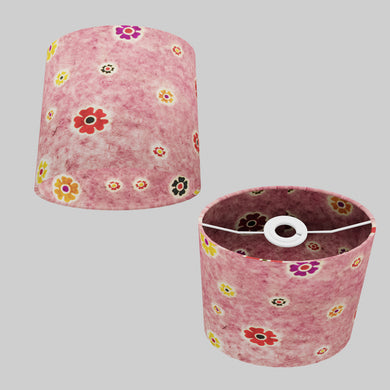 Oval Lamp Shade - P36 - Batik Multi Flower on Pink, 20cm(w) x 20cm(h) x 13cm(d)