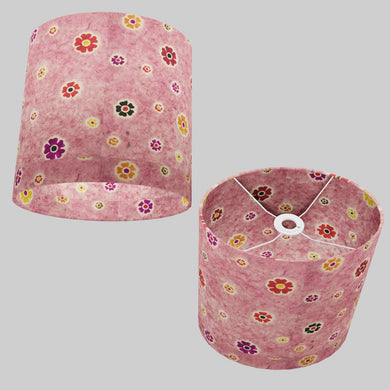 Oval Lamp Shade - P36 - Batik Multi Flower on Pink, 30cm(w) x 30cm(h) x 22cm(d)