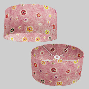 Oval Lamp Shade - P36 - Batik Multi Flower on Pink, 40cm(w) x 20cm(h) x 30cm(d)