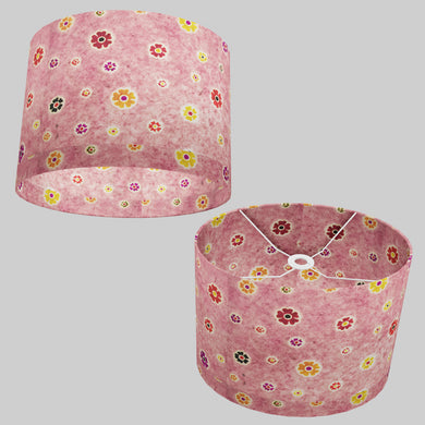 Oval Lamp Shade - P36 - Batik Multi Flower on Pink, 40cm(w) x 30cm(h) x 30cm(d)