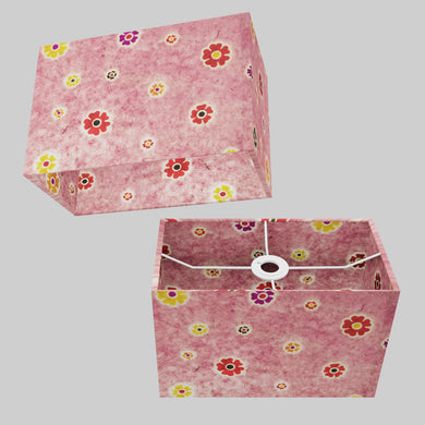 Rectangle Lamp Shade - P36 - Batik Multi Flower on Pink, 30cm(w) x 20cm(h) x 15cm(d)