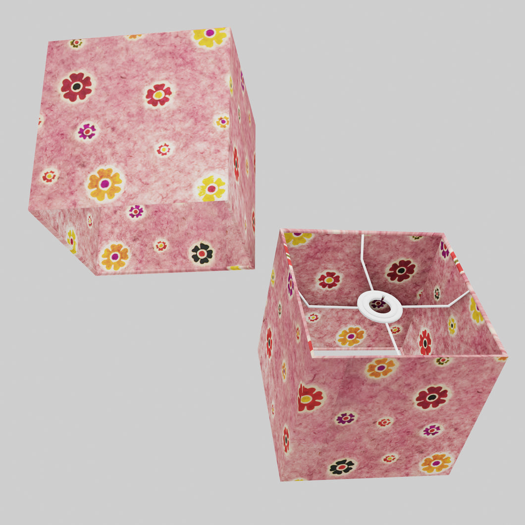 Square Lamp Shade - P36 - Batik Multi Flower on Pink, 20cm(w) x 20cm(h) x 20cm(d)