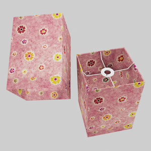 Square Lamp Shade - P36 - Batik Multi Flower on Pink, 20cm(w) x 30cm(h) x 20cm(d)