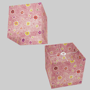 Square Lamp Shade - P36 - Batik Multi Flower on Pink, 30cm(w) x 30cm(h) x 30cm(d)