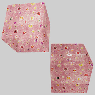 Square Lamp Shade - P36 - Batik Multi Flower on Pink, 40cm(w) x 40cm(h) x 40cm(d)