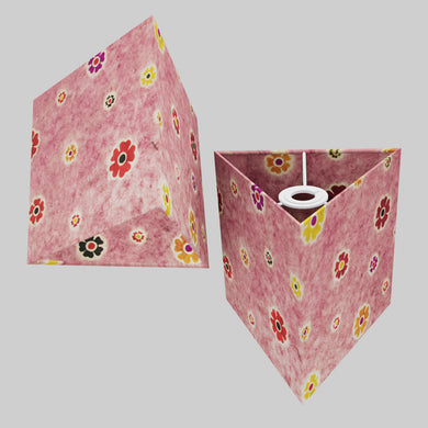 Triangle Lamp Shade - P36 - Batik Multi Flower on Pink, 20cm(w) x 20cm(h)