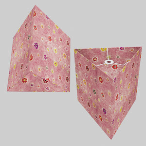 Triangle Lamp Shade - P36 - Batik Multi Flower on Pink, 40cm(w) x 40cm(h)